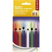 FDG bougies flammes couleur x12