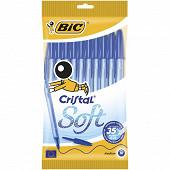 Bic stylo bille cristal soft bleu x10