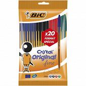 Bic lot de 20 stylos bille pointe fine 0.8 mm