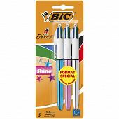 Bic stylo bille 4 colours shine x 3 format spécial