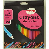 Cora boite 24 Crayons plastique
