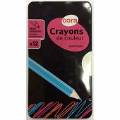 Cora - Boite metal 12 crayons plastique