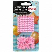 Cora bougies bobèches x20 rose