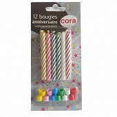 Cora bougies + bobèches x12 assortis
