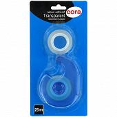 Cora devidoir avec un ruban adhesif TRANSPARENT 25m + une recharge