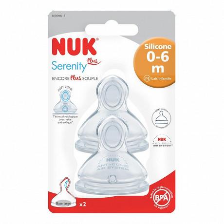 2 tétines physiologiques silicone lait infantile 0-6 mois Nuk