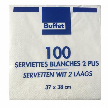 Serviettes x100 blanches 37x38cm 2 plis