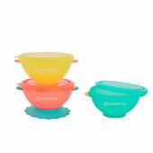 Lot de 3 bols bleu, rose, jaune avec couvercles Badabulle