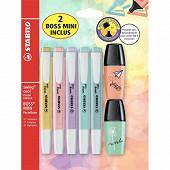 Blister 5 surligneurs Stabilo swing cool pastel + 2 boss mini pastel love