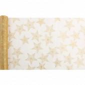 Chemin de table 28X400 cm organza stars or fond or