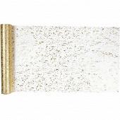 Chemin de table en tulle 28X400 cm  feuilles d'or