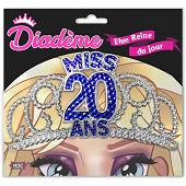Diademe miss 20 ans bleu