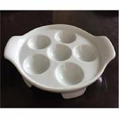 Plat a escargots 6 empreintes 17x14.5x3 cm porcelaine blanche