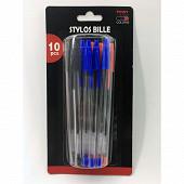 Lot de 10 stylos bille coloris assortis