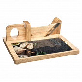 Trancheuse à charcuterie en bois avec planche en verre amovible