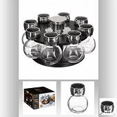 Lot support rotatif avec 8 pots à épices