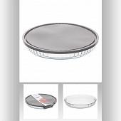 Plat à tarte en verre + couvercle diamètre 27.5 cm