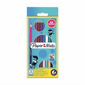 Papermate 12 crayons de couleurs corps rond double pointe