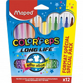 12 feutres color peps en pochette carton format spécial