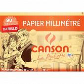 Canson pochette papier millimetré bistre 16 feuilles a4 90 grammes