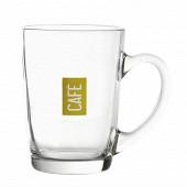 Mug 25cl en verre - décor café rouge