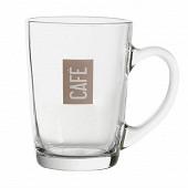 Mug 25cl en verre - décor café taupe