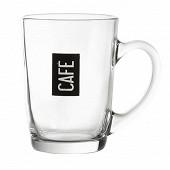 Mug 25cl en verre - décor café noir