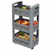 Résserve mobilo 3 étagères dont 1 modulable avec roulettes