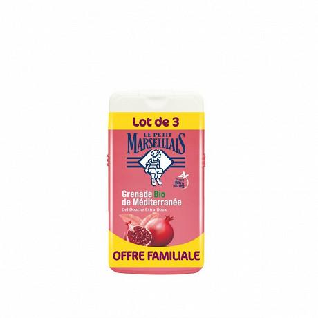 Le Petit Marseillais douche extra doux grenade 3x250ml offre familiale