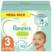 Pampers Premium protection couches méga pack taille 3 102ct