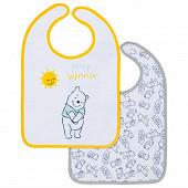 Lot de 2 bavoirs 1er âge imprimés 25x36cm scratch Winnie Disney baby