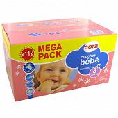Cora baby couches bébé taille 3 (4 à 9kg) x112 méga pack