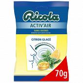 Ricola sans sucres  activ'air citron glace sachet de 70g