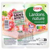 Cora lardons nature supérieurs sans nitrite VPF 2x75g