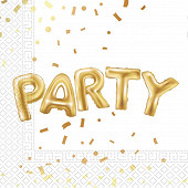Serviettes x20 gold party 2 plis
