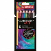 12 crayons de couleur stabilo aquacolor arty
