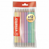 Stabilo 12 crayons graphite pastel HB bout gomme