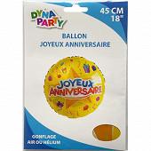 Ballon mylar joyeux anniversaire 45cm