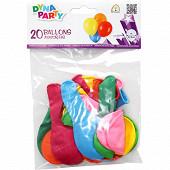 Ballons x20 latex rond couleurs assorties