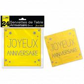 Serviettes de table jaune soleil anniversaire 3 plis x24