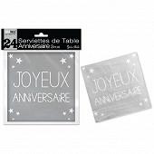 Serviettes de table gris perle anniversaire 3 plis x24