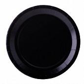 Assiettes x10 noir 22cm carton biodégradable