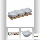 Ensemble apérétif : 3 coupelles + support bambou