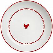 Assiette calotte 20cm porcelaine décor poule