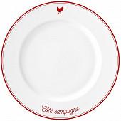 Assiette plate 26.5cm porcelaine décor poule