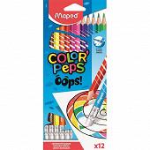 Crayons de couleur x12 ''oops'' effaçables