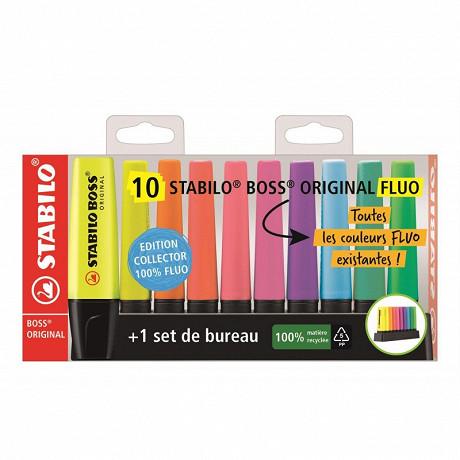 10 surligneurs stabilo boss original fluo + 1 set de bureau