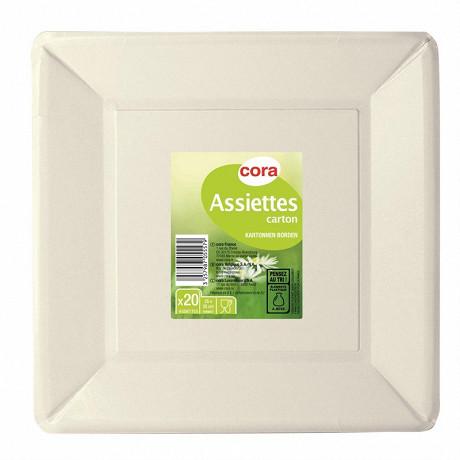Assiettes x20 carrées blanches 25x25cm