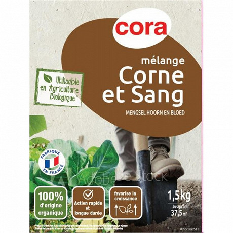 Cora mélange corne et sang 1.5kg utilisable en agriculture biologique