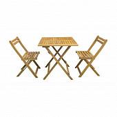 Set balcon pliant picollo 1 table 70x70 cm + 2 chaises acacia fsc huile